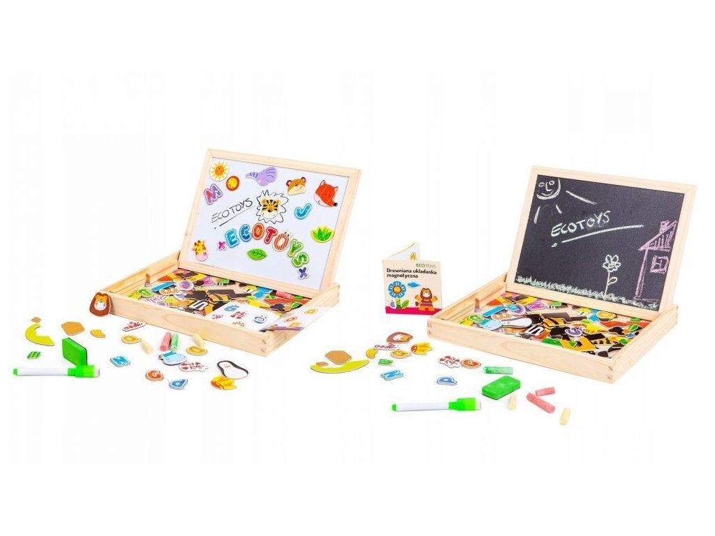 Ecotoys dřevěná magnetická tabulka Puzzle