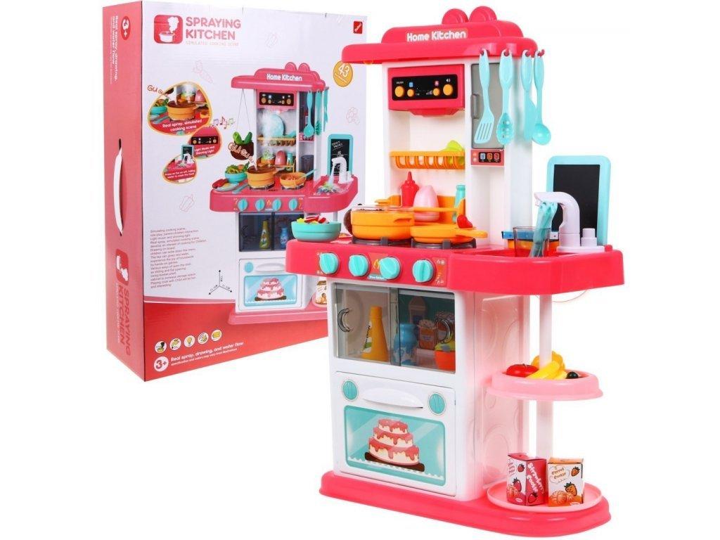 Majlo Toys dětská kuchyňka se zvuky a párou- růžová