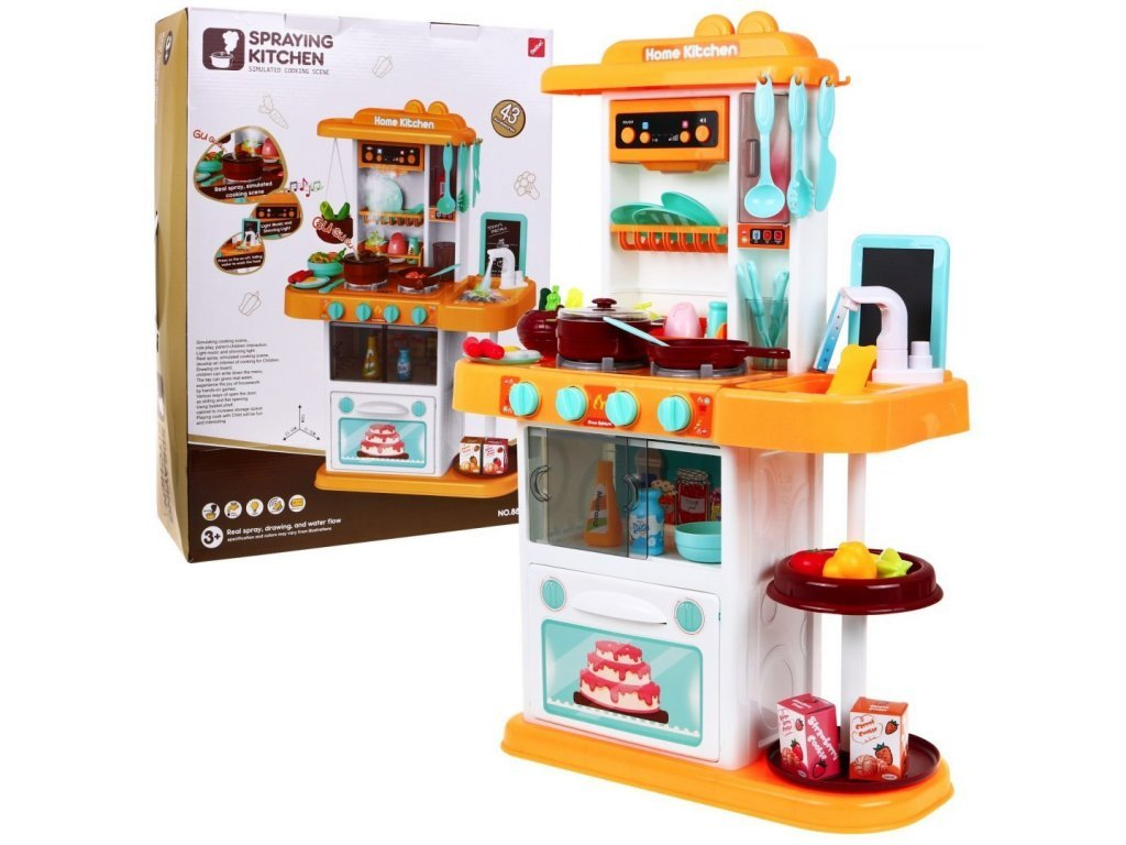 Majlo Toys dětská kuchyňka se zvuky a párou- žlutá