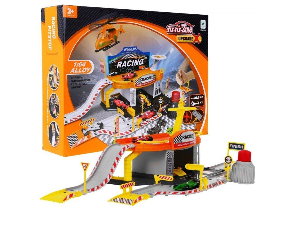Majlo Toys parkovací garáž Formule s dráhou