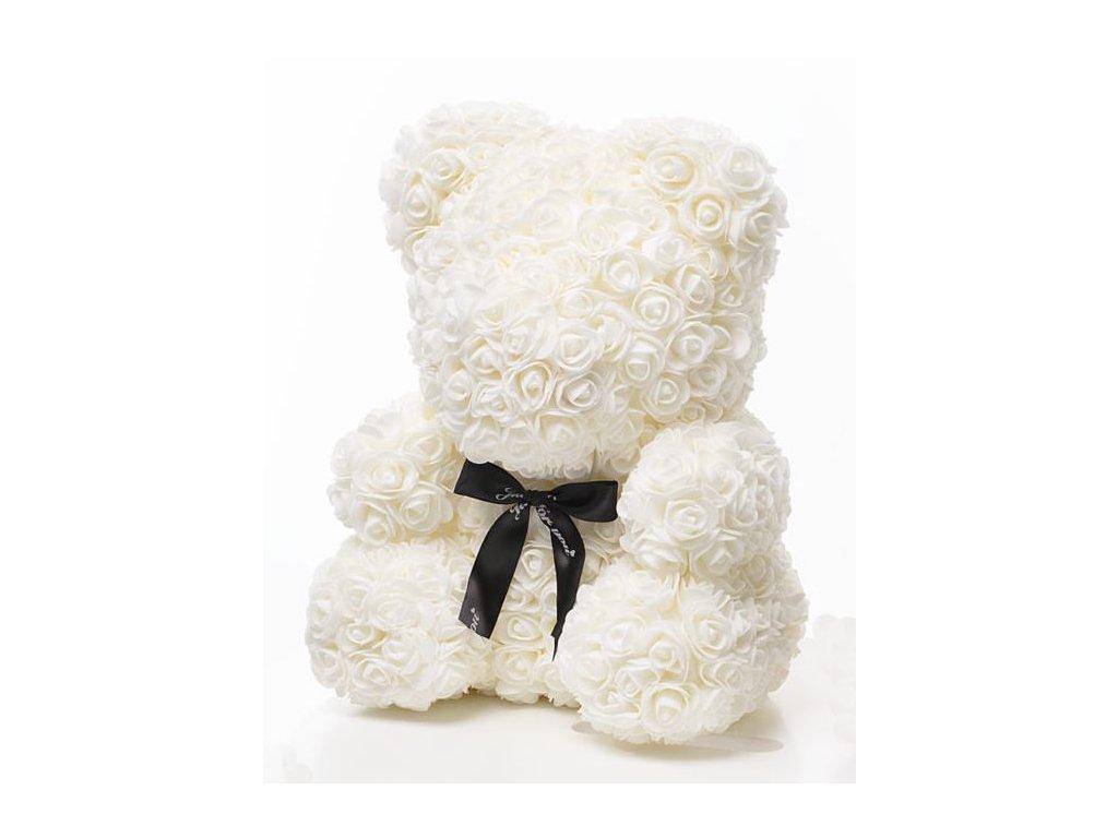 Medvídek z růží bílý Rose Bear 40 cm + Dárková krabice
