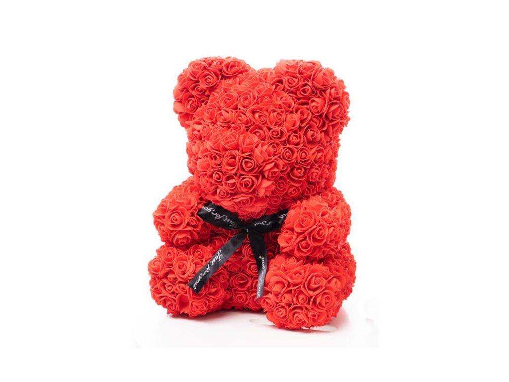 Medvídek z růží červený Rose Bear 40 cm + Dárková krabice