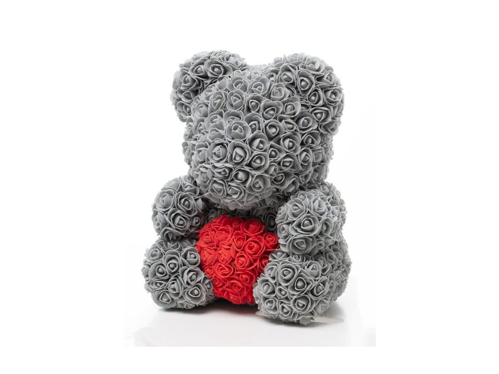 Medvídek z růží šedý se srdcem Rose Bear 40 cm + Dárková krabice
