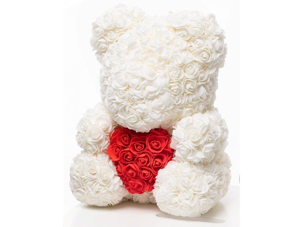 Medvídek z růží bílý s červeným srdcem Rose Bear 40 cm