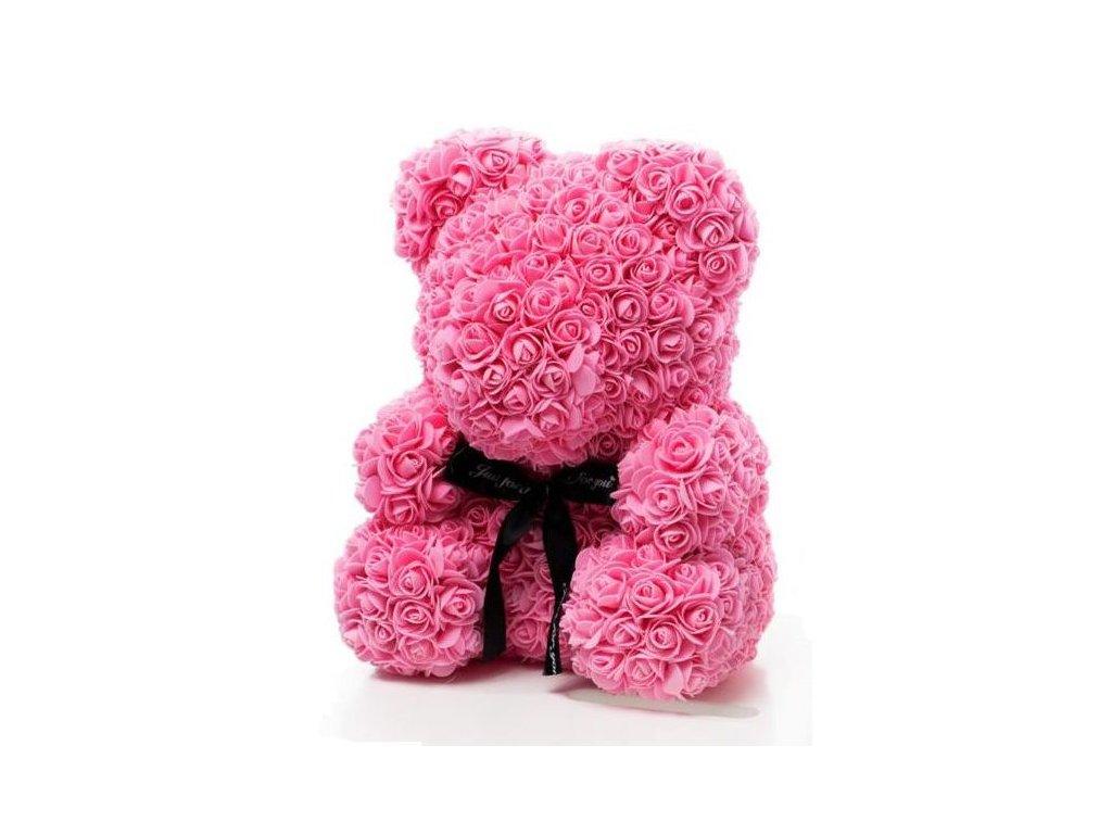 Medvídek z růží růžový Rose Bear 40 cm + Dárková krabice