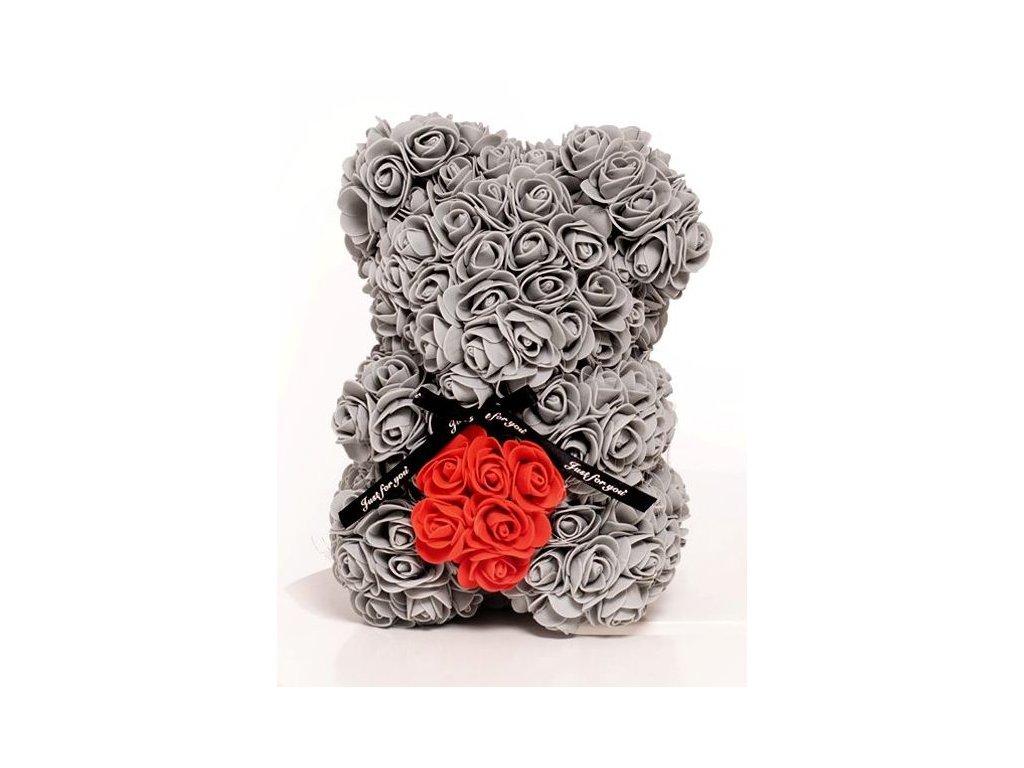 Medvídek z růží šedý s červeným srdcem Rose Bear 25 cm