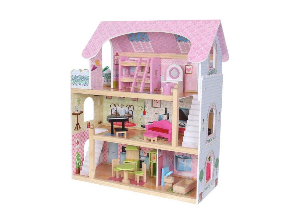 Ecotoys dřevěný dvoupatrový domeček pro panenky Pohádka + 4 panenky