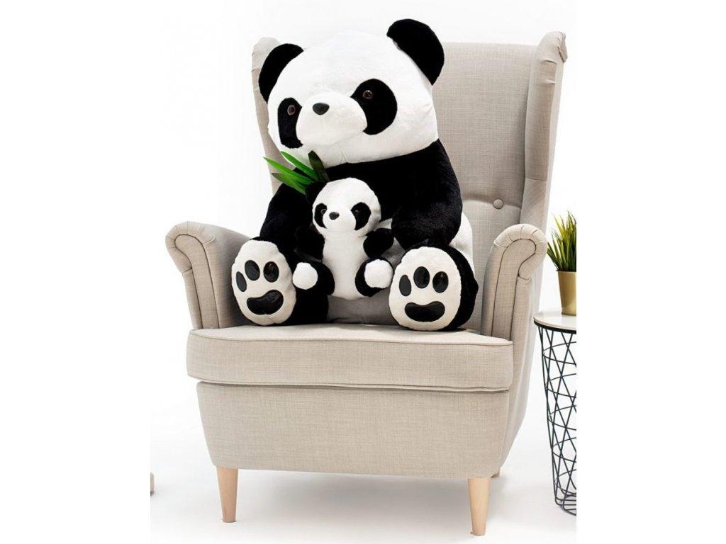 Plyšový medvěd Panda 100 cm s miminkem