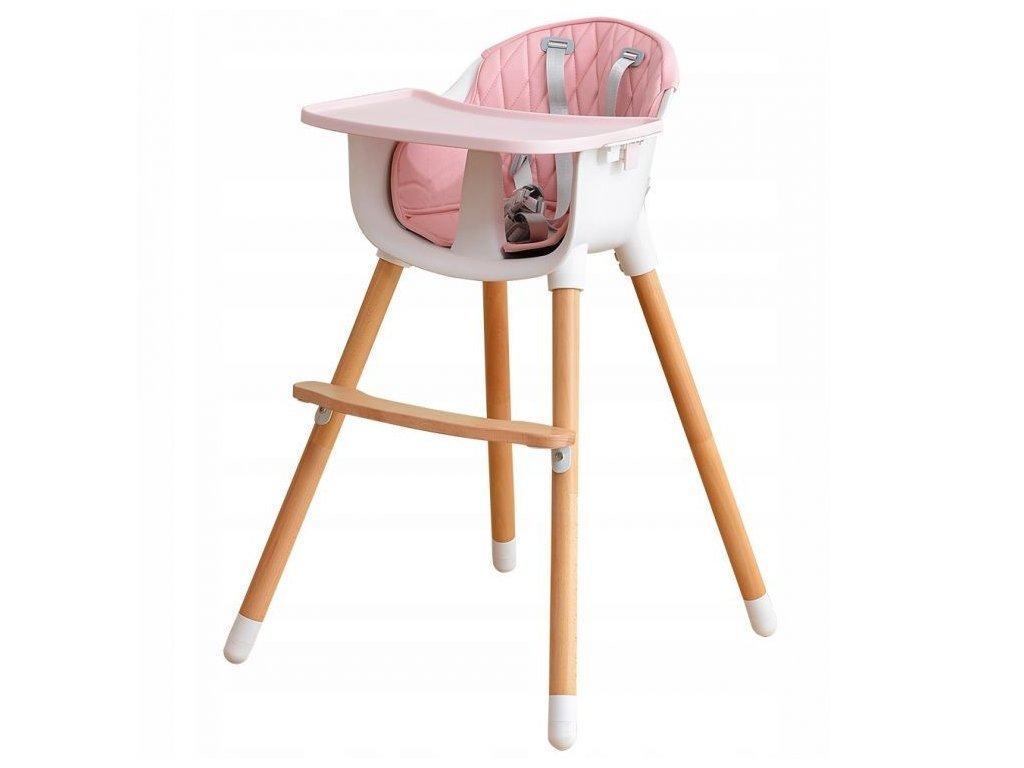Ecotoys dřevěná jídelní židlička 2v1 růžová