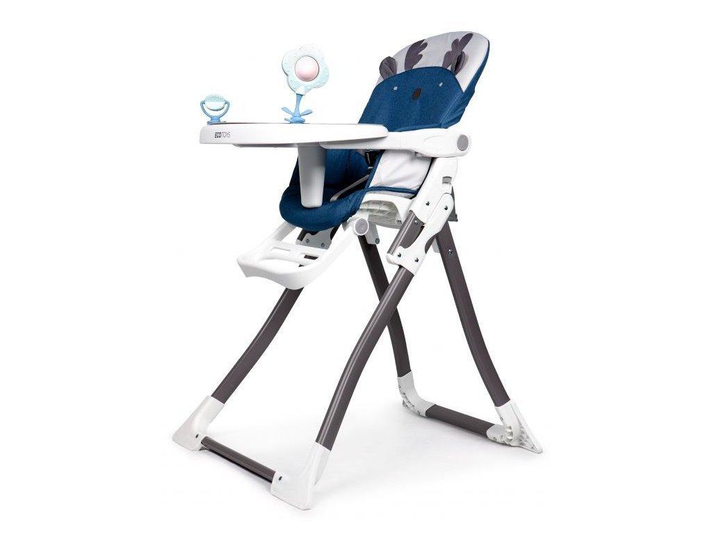 Ecotoys jídelní židlička 2v1 Sobík modrá