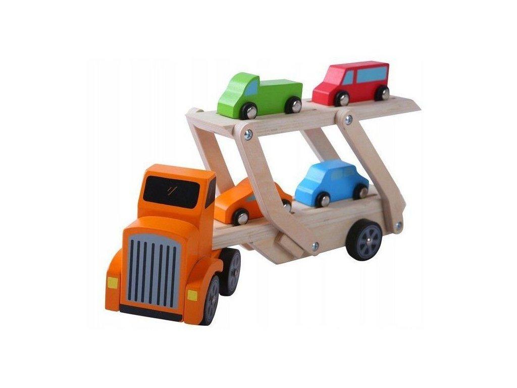 Ecotoys dřevěné autíčko Odtahovka + 4 autíčka