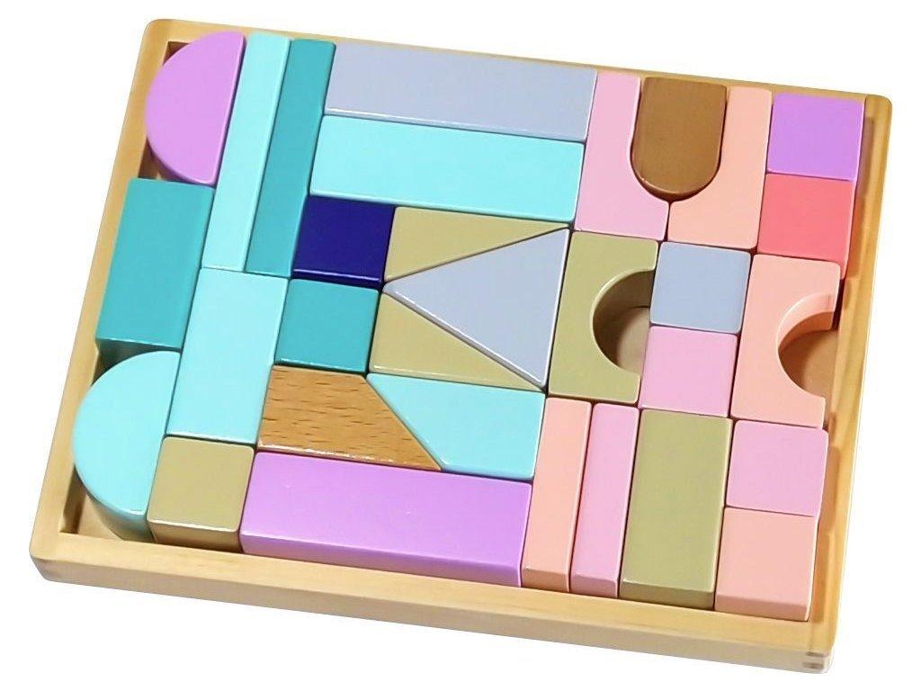Ecotoys sada dřevěných kostek 29 ks v boxu