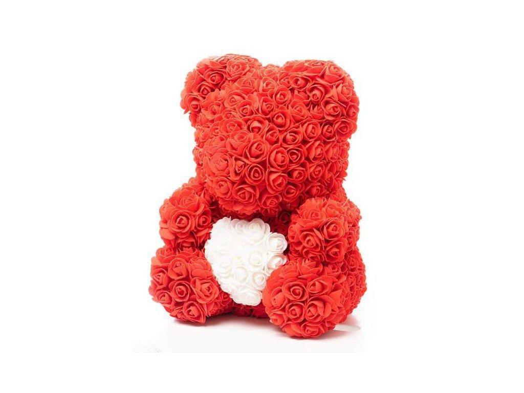 Medvídek z růží červený se srdcem Rose Bear 40 cm