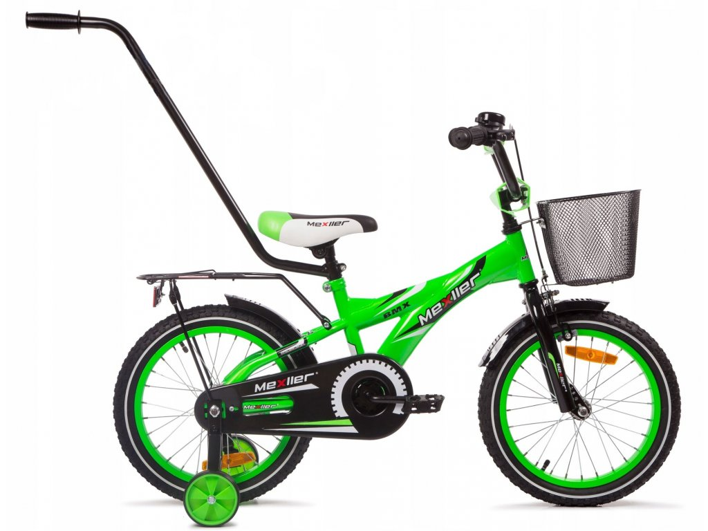 """Mexller dětské kolo BMX 16"""" s vodící tyčí zelený lesk 2020"""