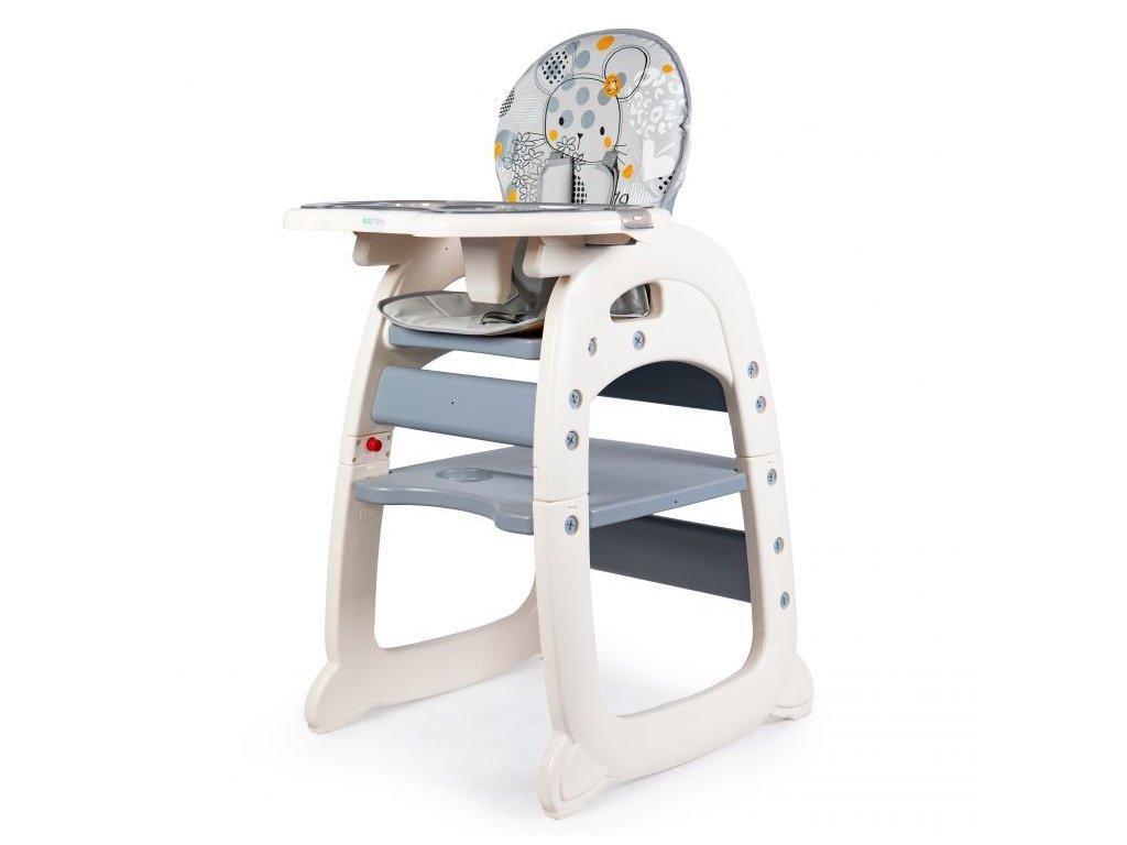Ecotoys jídelní židlička 2v1 Myška šedá