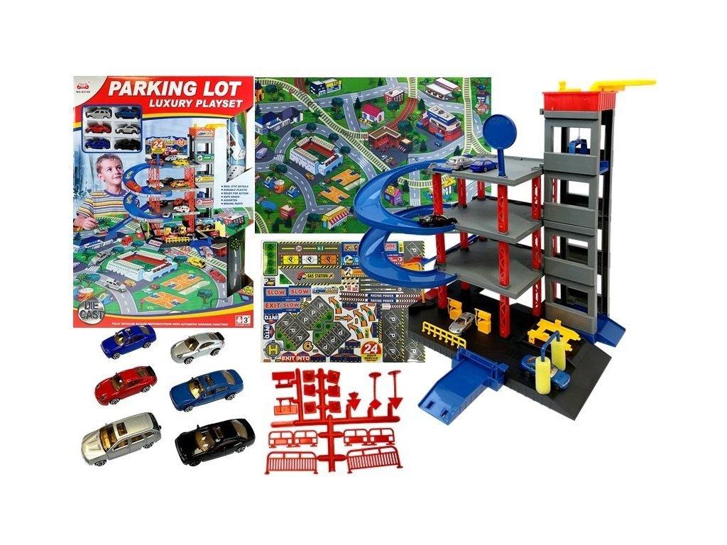Majlo Toys parkovací garáž se 6 autíčky a hrací podložkou