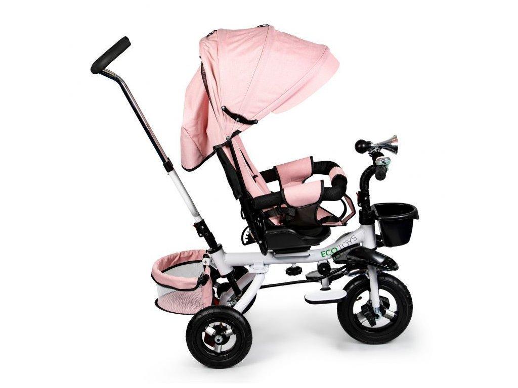 Ecotoys dětská tříkolka s otočným sedadlem a nafukovacími koly Rotage světle růžová