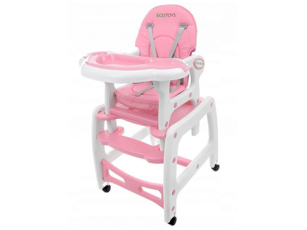 Ecotoys jídelní židlička s houpačkou 3v1 růžová