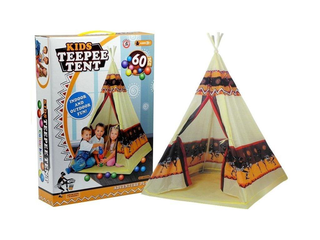Majlo Toys dětský indiánský stan TeePee + 60 míčků