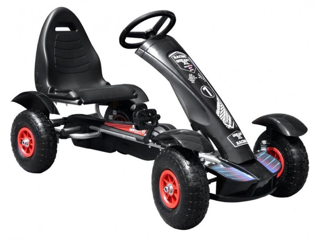 Dětská šlapací motokára s nafukovacími koly Formule 618 černá