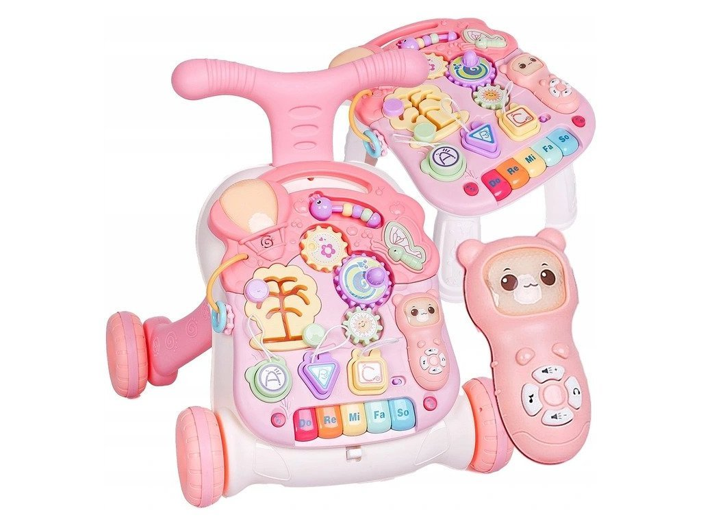 Doris interaktivní chodítko s hracím stolečkem 3v1 růžové
