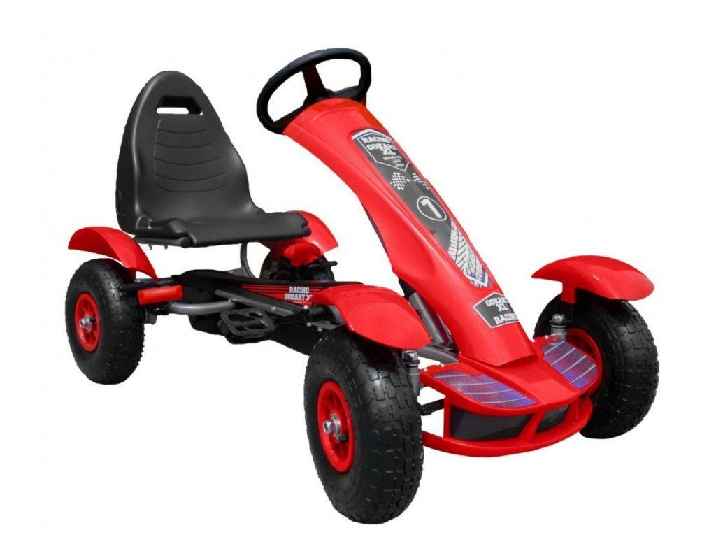 Dětská šlapací motokára s nafukovacími koly Formule 618 červená