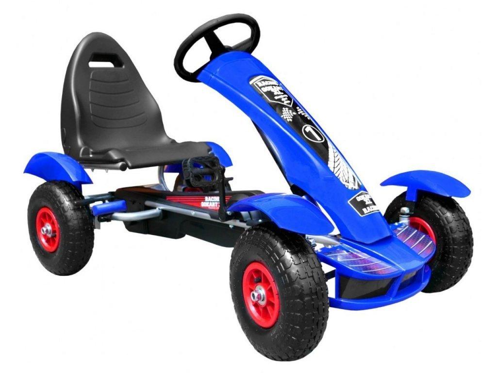 Dětská šlapací motokára s nafukovacími koly Formule 618 modrá