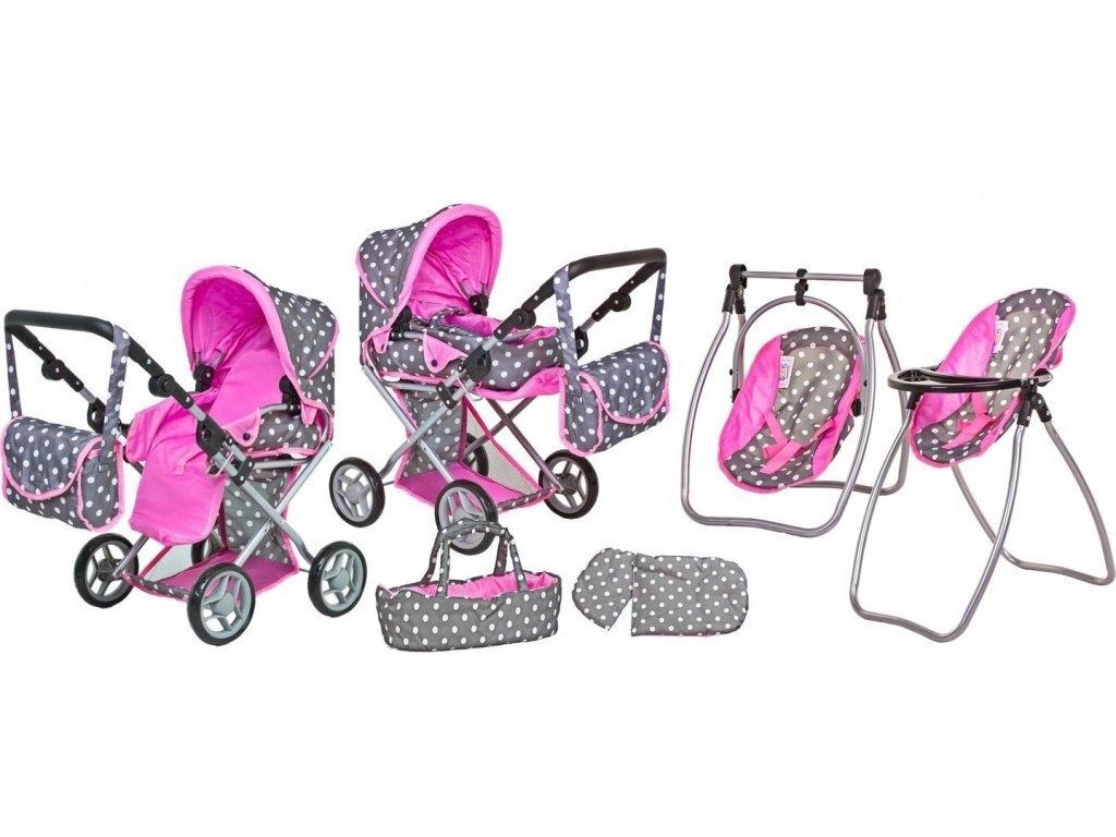 Doris kočárek pro panenky 9346 set 6v1 šedo-růžový