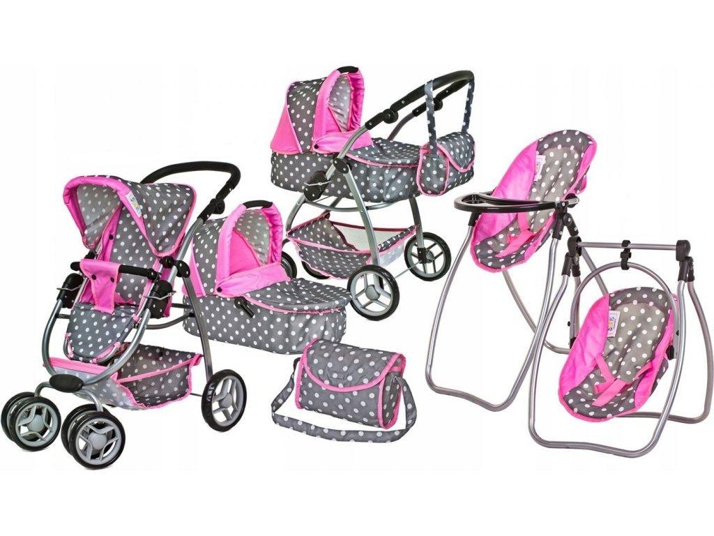 Doris kočárek pro panenky 9662 set 6v1 šedorůžový s jídelní židličkou