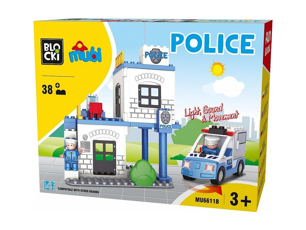 Blocki Mubi stavebnice Policejní stanice se světlem a zvukem 38 dílů