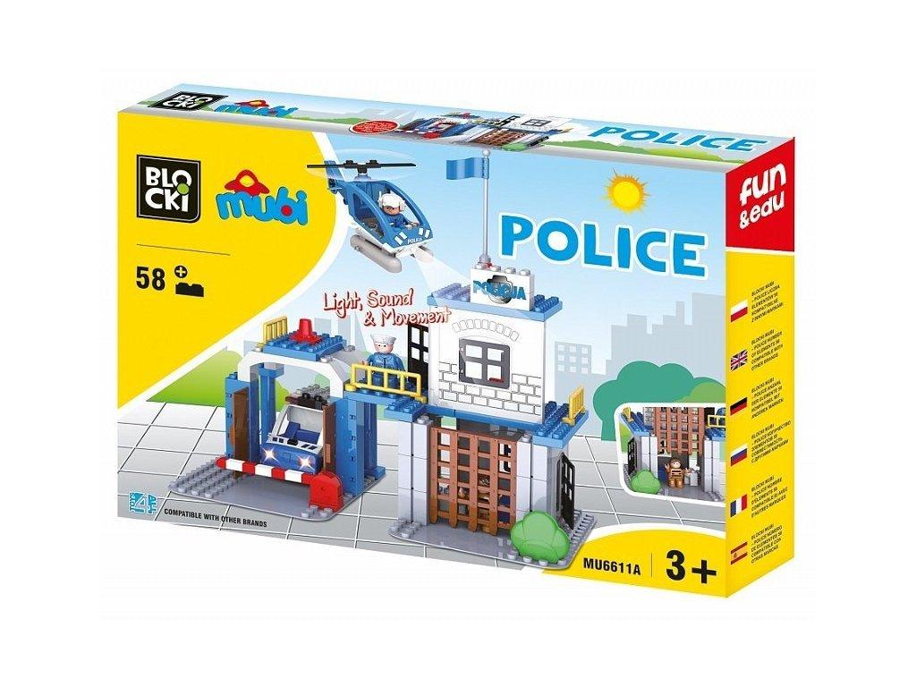 Blocki Mubi stavebnice Policejní stanice se světlem a zvukem 58 dílů
