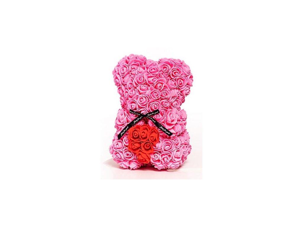 medved z ruzi ruzovy s cervenym srdcem 25 cm