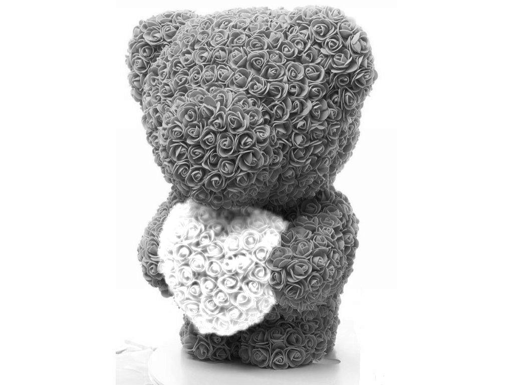 Medvídek z růží šedý s bílým srdcem Rose Bear 60 cm
