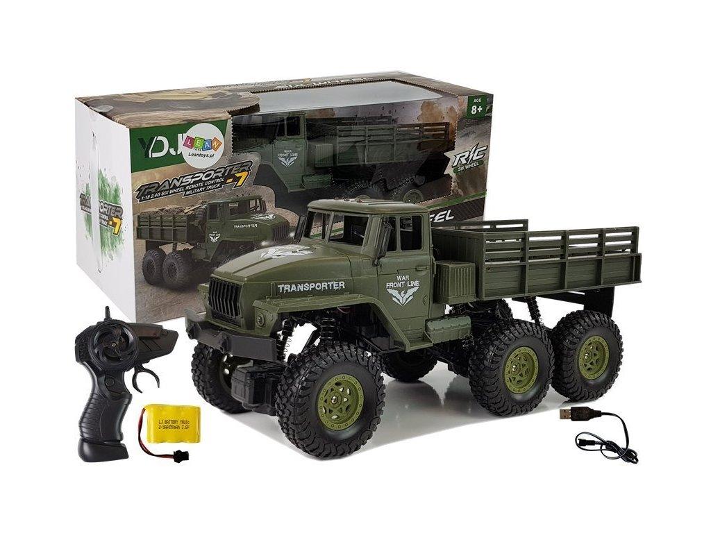 auto na dalkove ovladani sestikolove Army Truck zelene