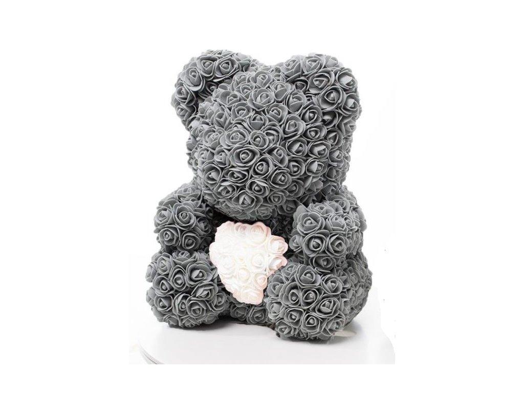 medved z ruzi sedy s bilym srdcem 40 cm