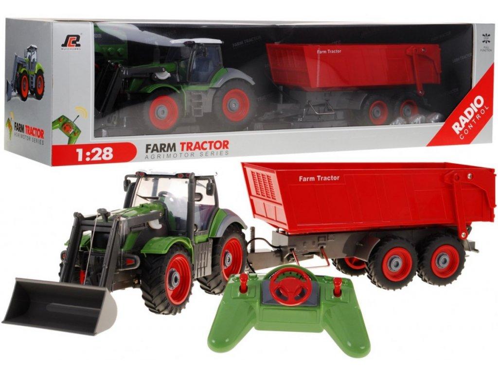 Traktor na dalkove ovladani 1 28 cervena vlecka