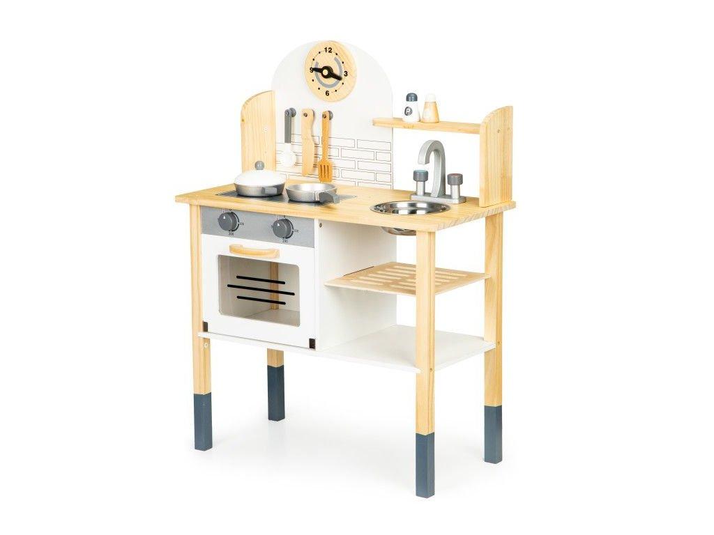 Ecotoys detska drevena kuchynka s hodinami 2