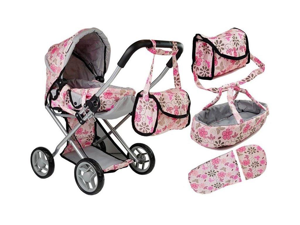 Kočárek pro panenky Alice 9346D světle růžový s kytičkama