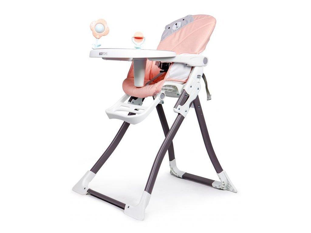 SMONTOVÁNO Ecotoys jídelní židlička 2v1 Myška růžová