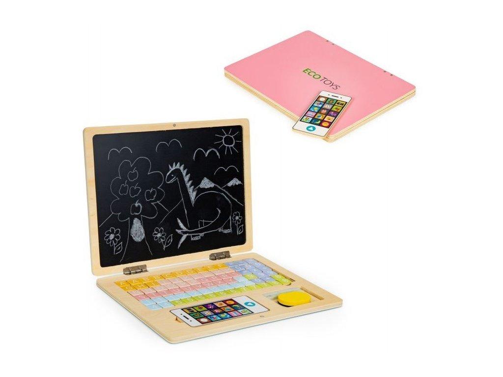 ecotoys dreveny notebook ruzovy
