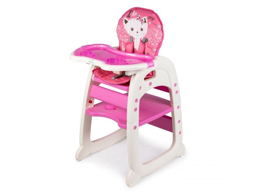 SMONTOVÁNO Ecotoys jídelní židlička 2v1 Kočička růžová