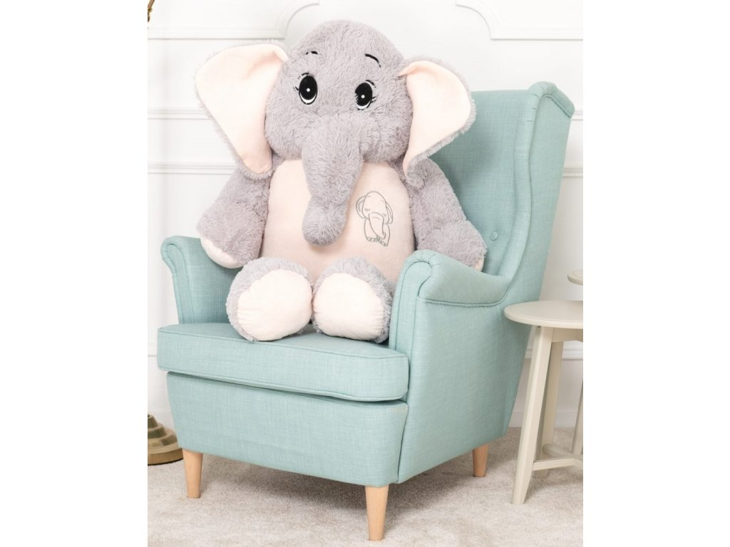 plysovy slon Belly sedo ruzovy 120 cm