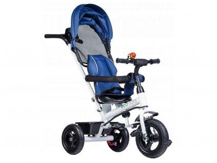 Ecotoys dětská tříkolka se stříškou modrá - nafukovací kola