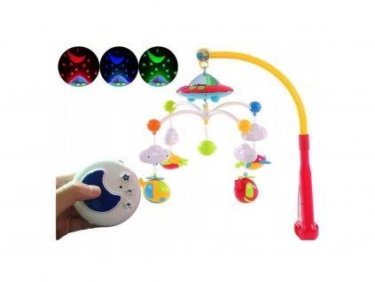 Baby Mix kolotoč nad postýlku s dálkovým ovladačem a projektorem Multicolor