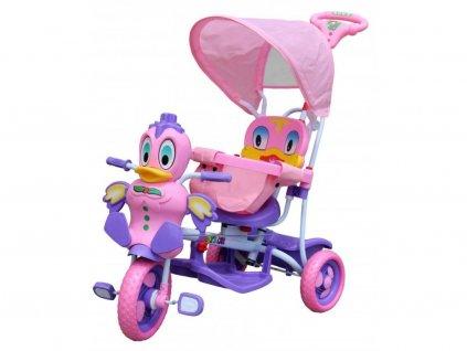 Dětská tříkolka s vodící tyčí Kačenka růžová