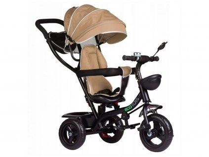 Ecotoys dětská tříkolka s otočným sedadlem 2v1 béžová