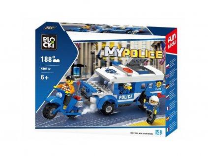 Blocki policejní auto a motorka 188 dílků
