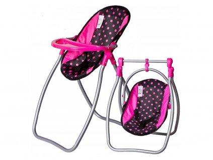 Doris jídelní židlička pro panenku 2v1 černá