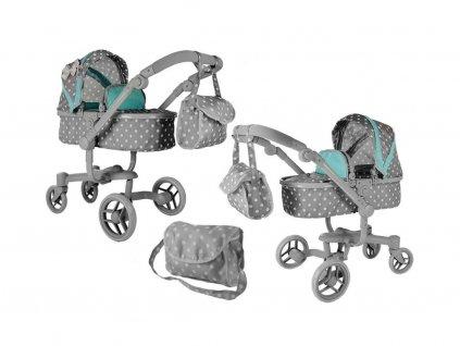 Alice velký kočárek pro panenky Moderno 5294 šedo-mentolový