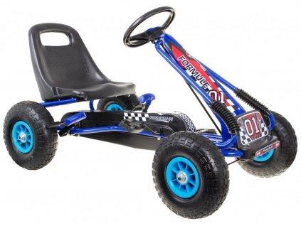Dětská šlapací motokára s nafukovacími koly Formule 15 modrá